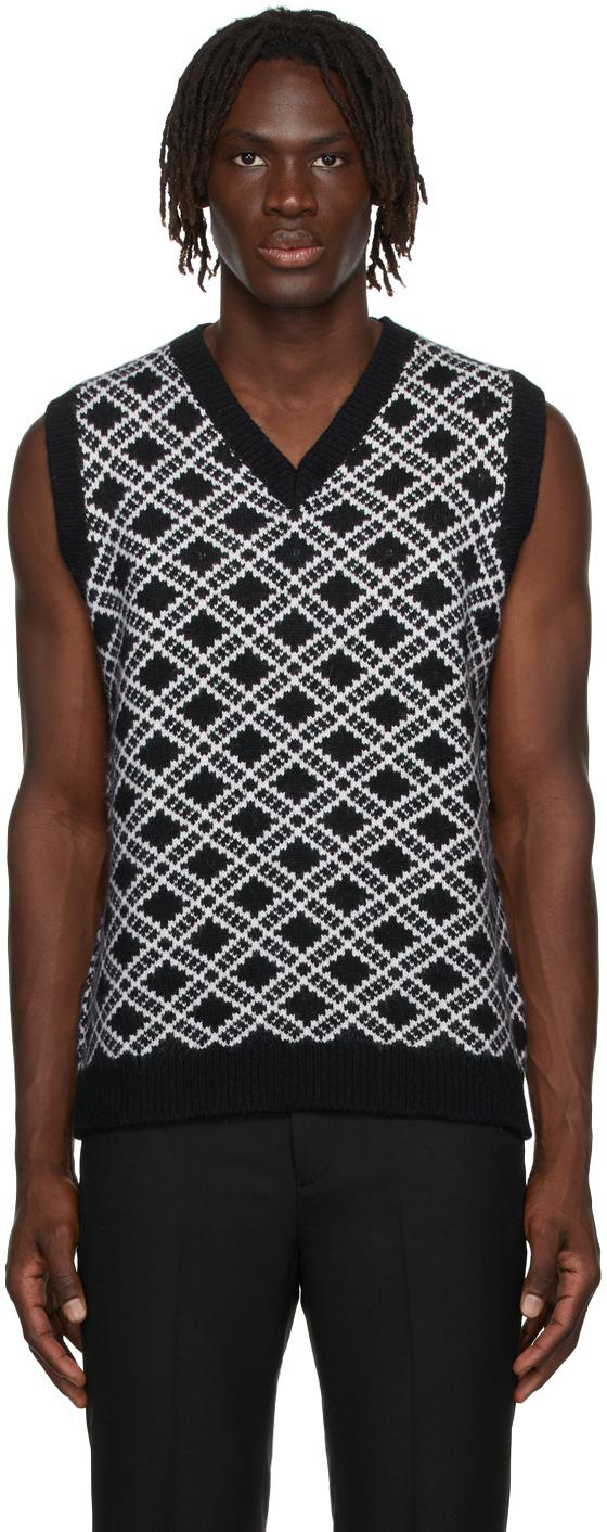 Black & White Alpaca Jacquard V-Neck Vest