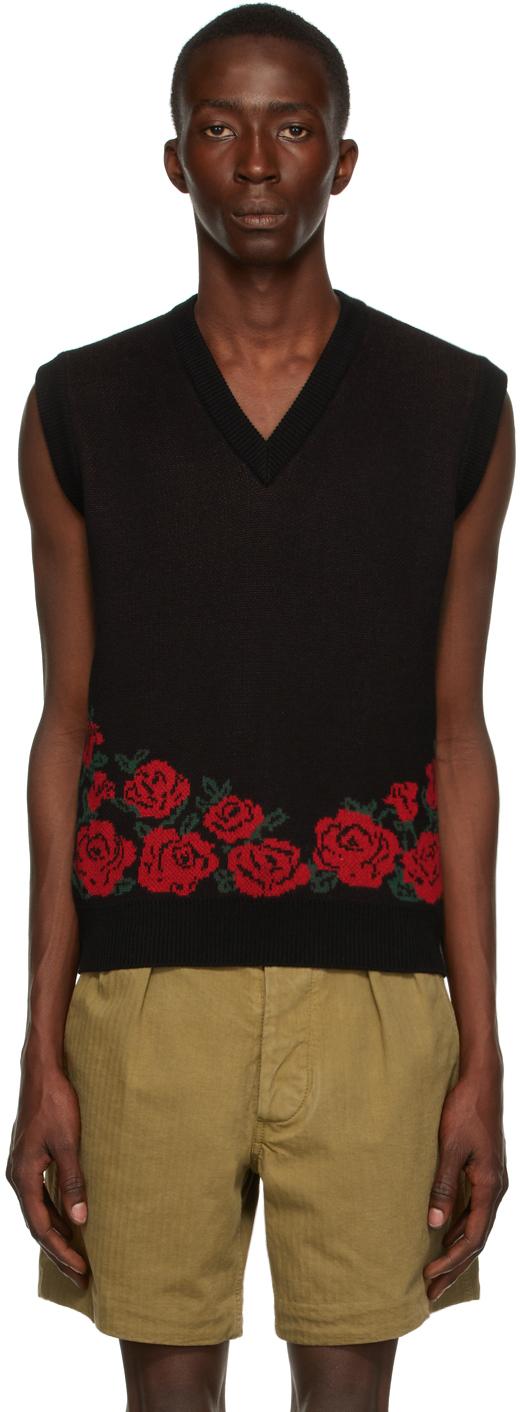 Black & Red Roses V-Neck Vest