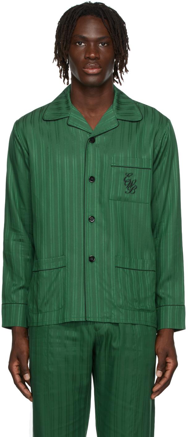 Green Striped Pyjama Shirt