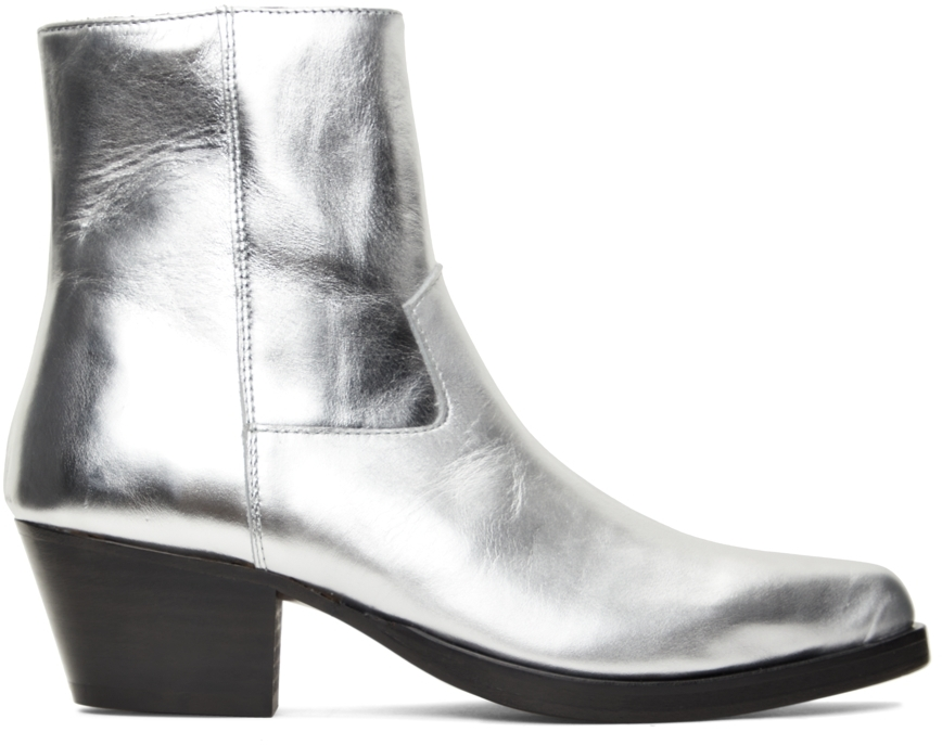 Silver Leather Western Boots