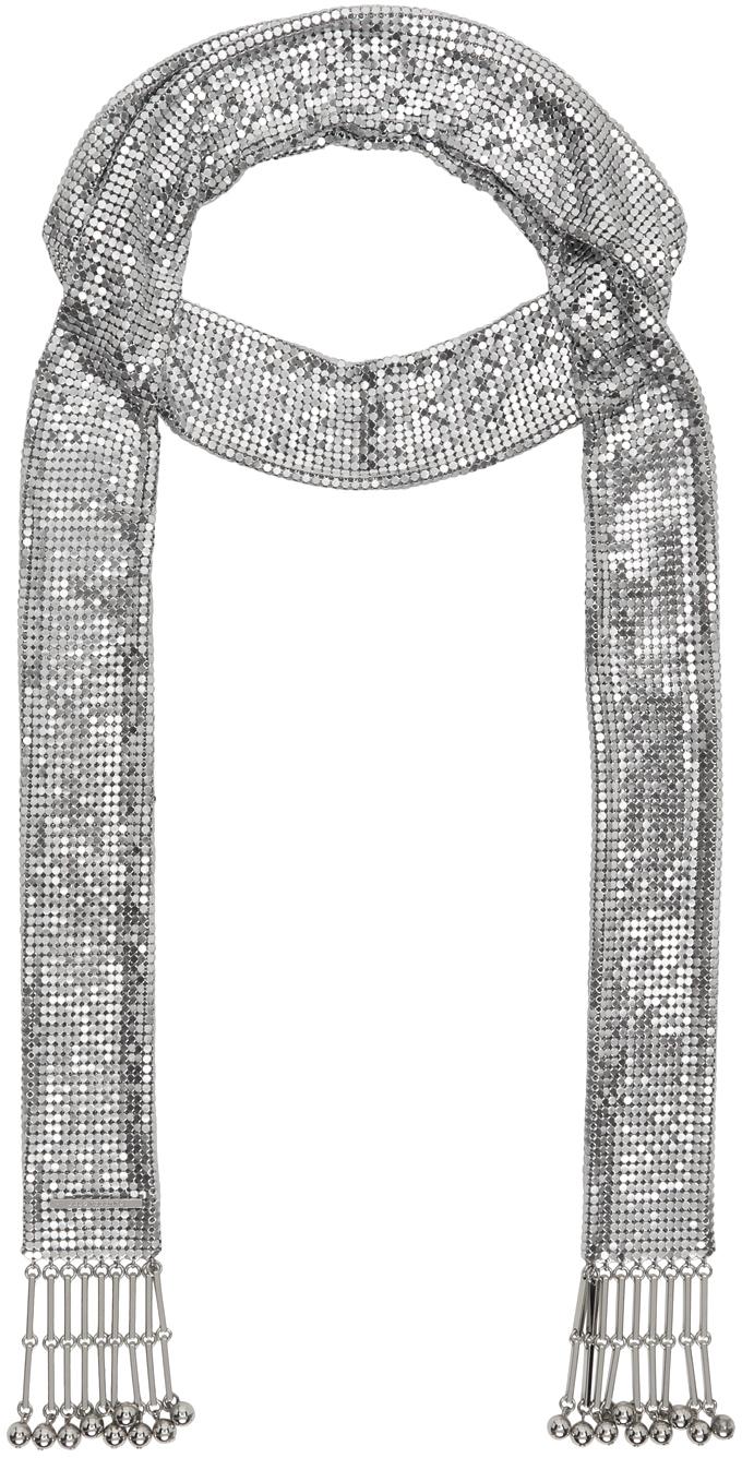 Silver Pixel Tie Necklace