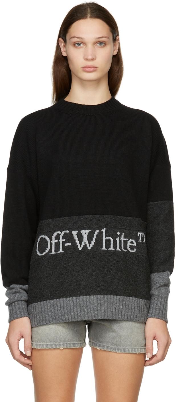 Black & Grey Blocked Knit Sweater