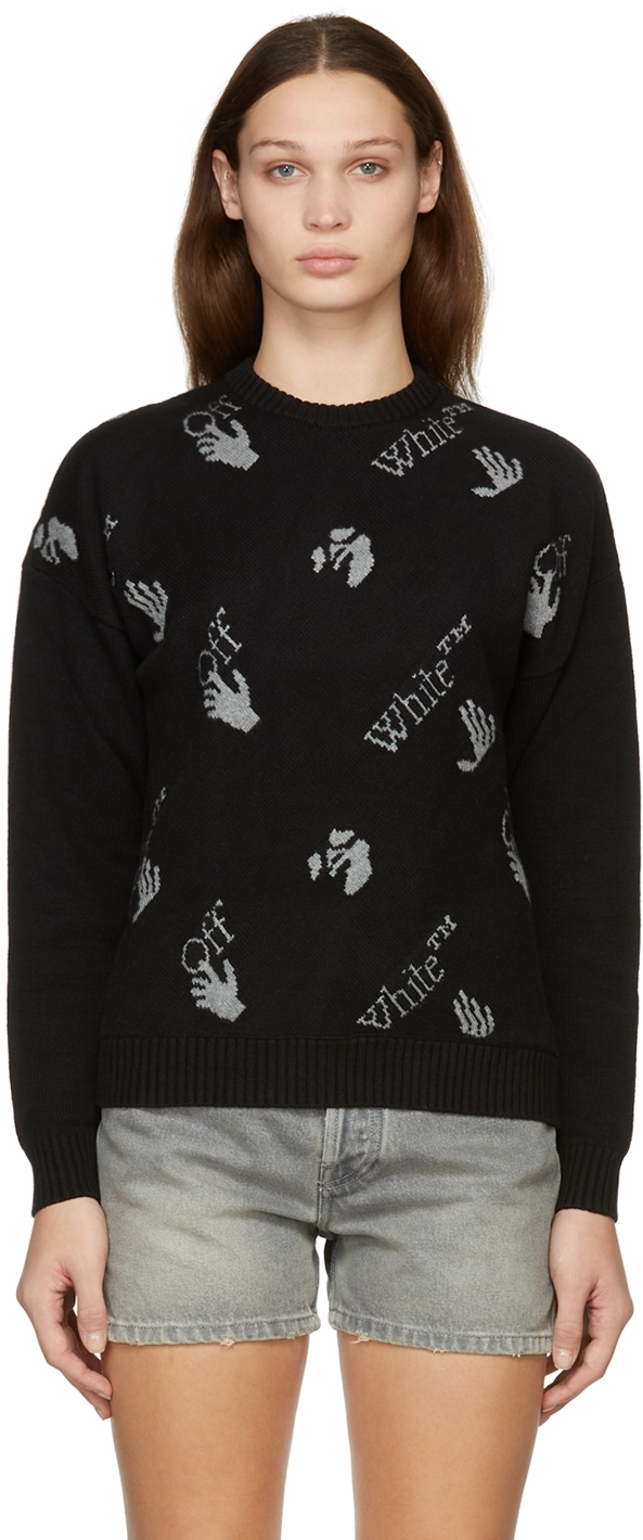 Black Knit Logo Sweater
