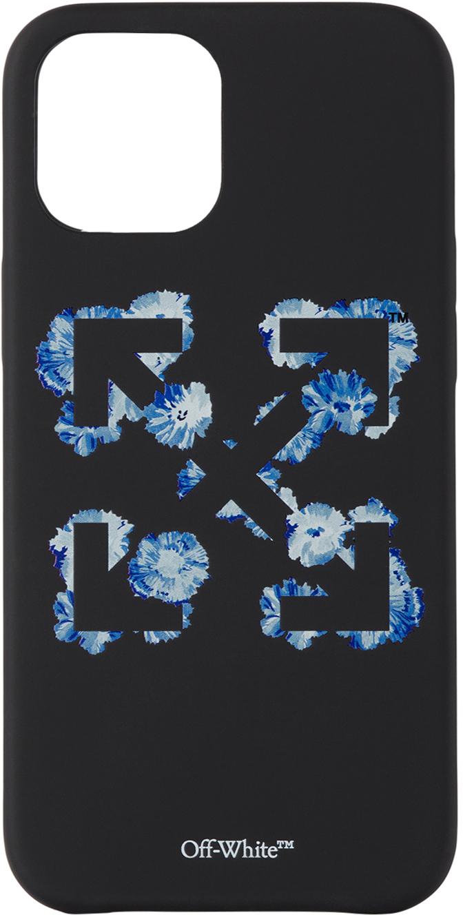 Black & Blue Floral Arrows iPhone 12 Pro Max Case