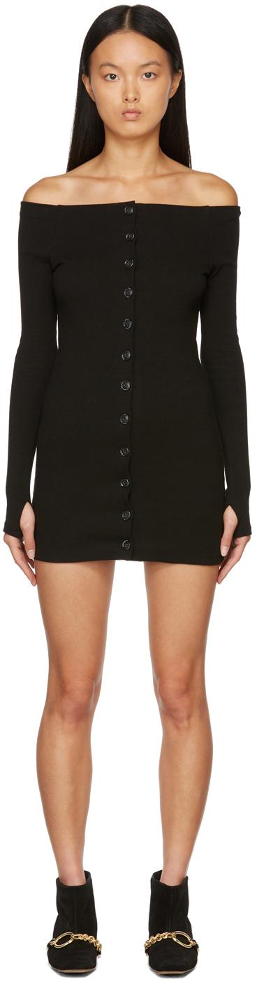 Black Off-The-Shoulder Rib Mini Dress