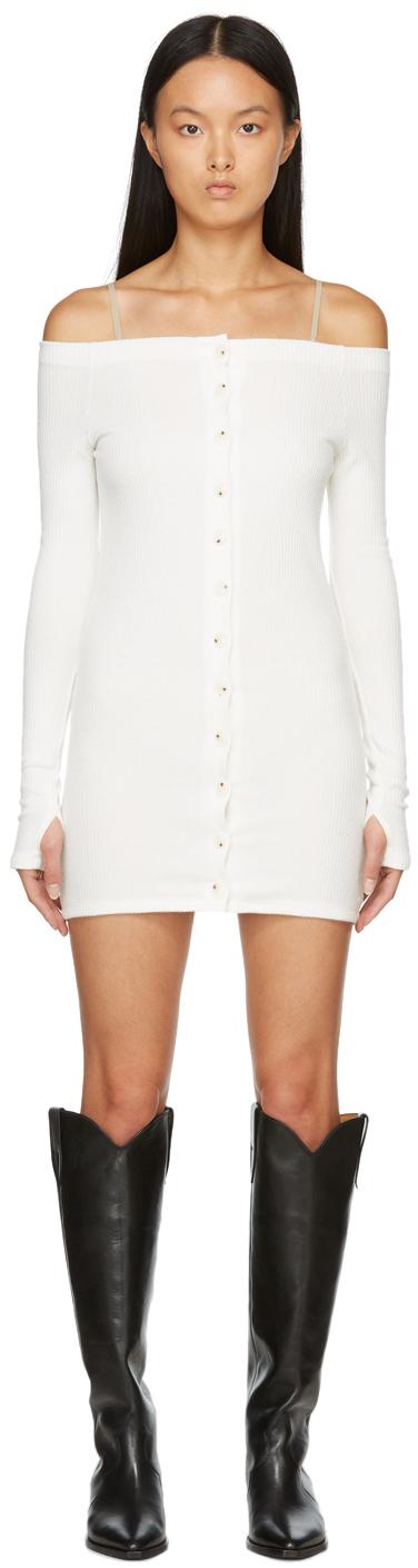 Off-White Off-The-Shoulder Rib Mini Dress