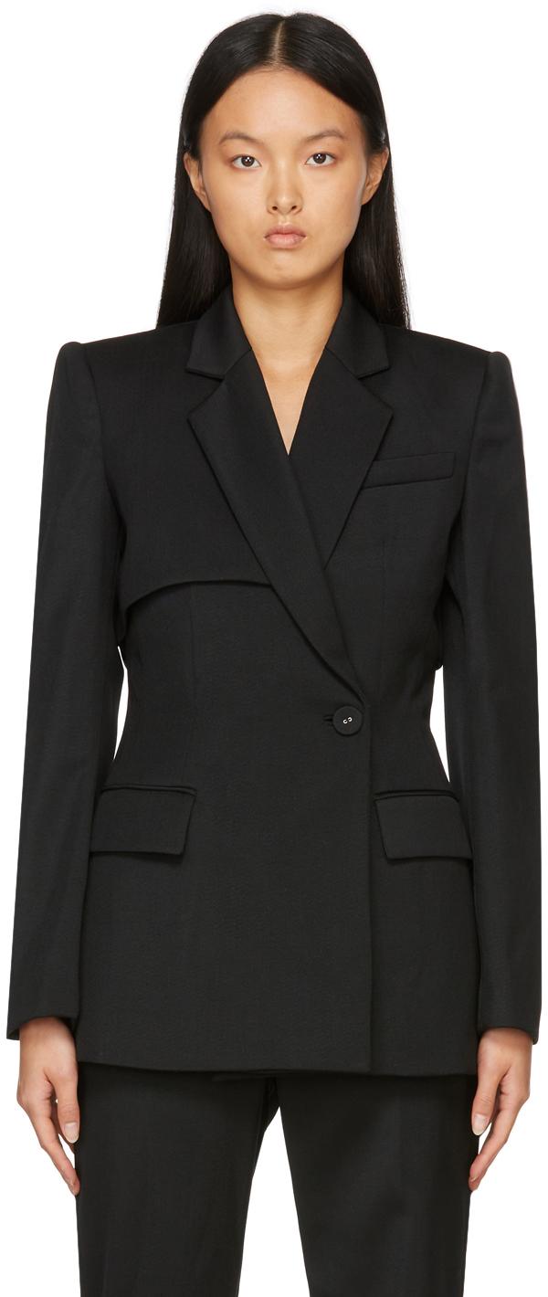 Black Double Layered Sleeved Blazer