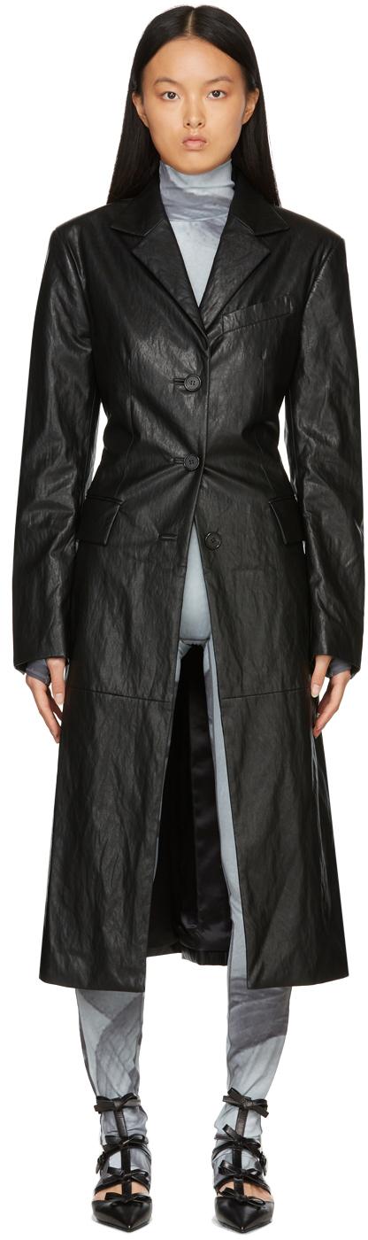 Black Vegan Leather Rebecca Coat