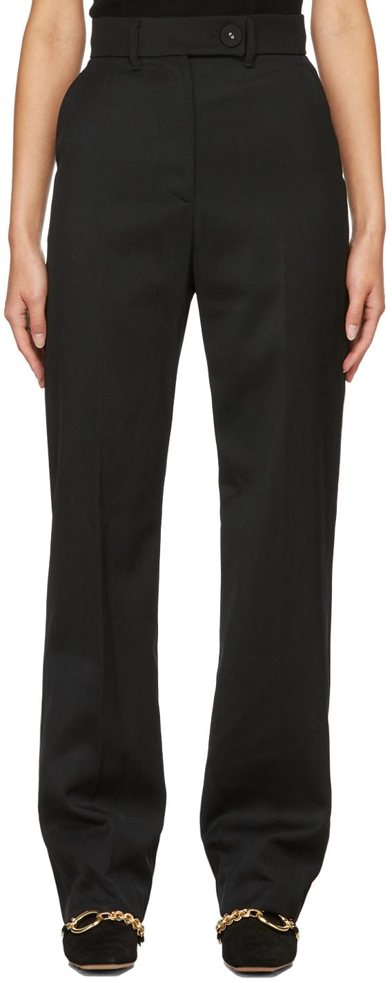 Black Wool Kiminte Straight Trousers