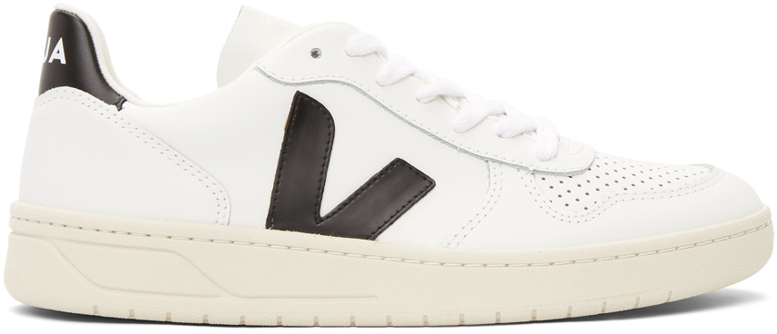 White & Black V-10 Sneakers
