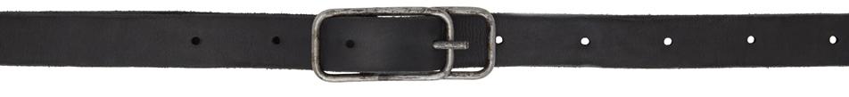 Black Leather Double Buckle Belt