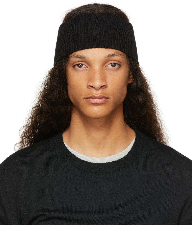 Black Cashmere Rib Knit Headband