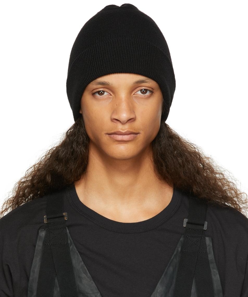 Black Cashmere Ribbed Beanie