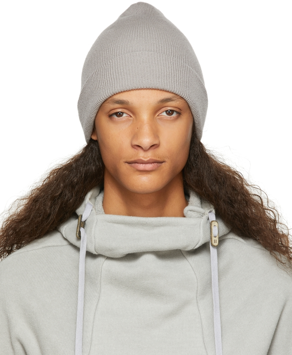 Grey Cashmere Ribbed Beanie