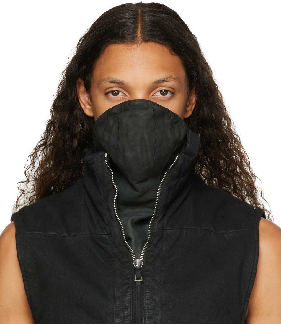 Black Horse Leather Face Mask