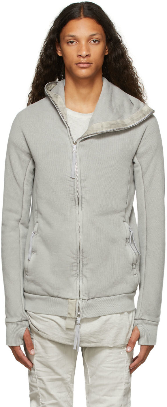 Grey Garment-Dyed Zipper2 Hoodie