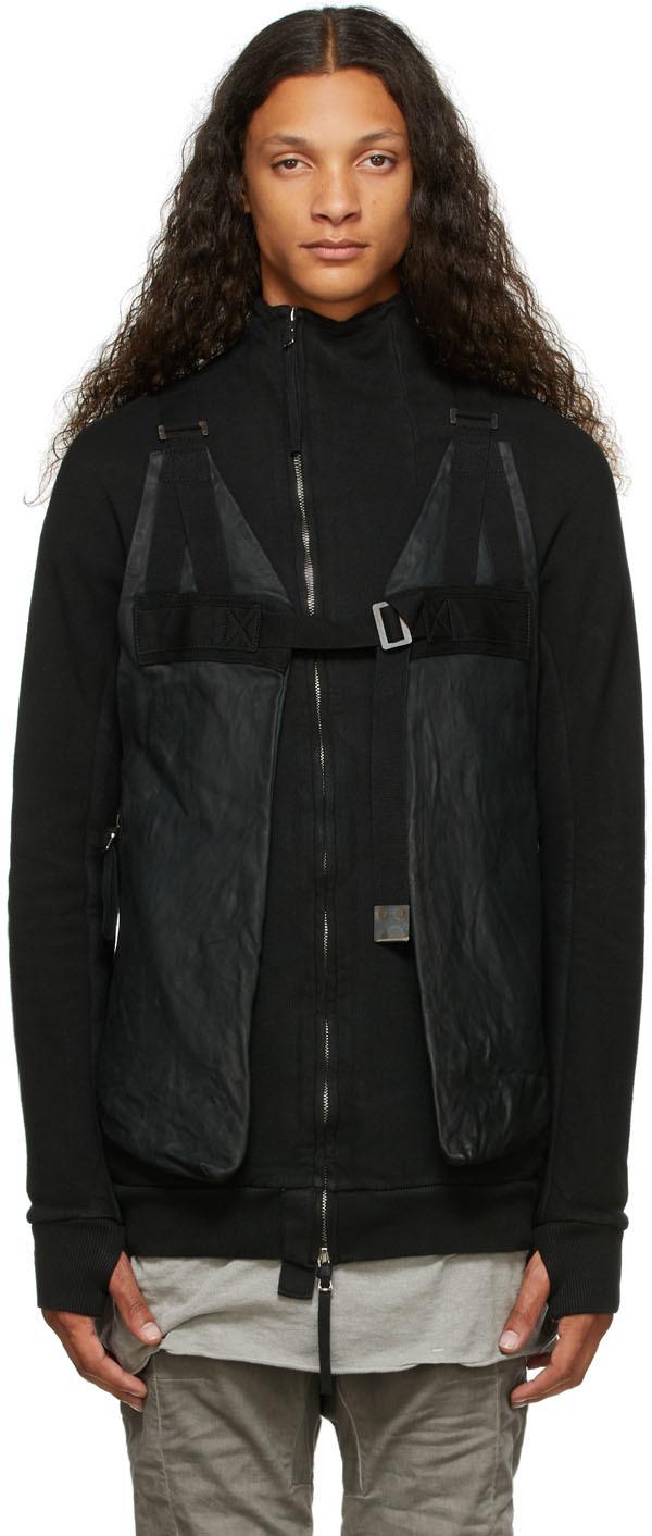 Black Leather Bag Vest