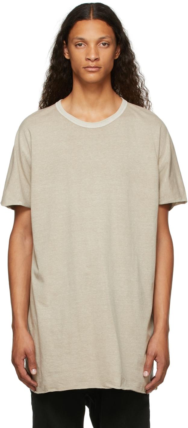 Beige Garment-Dyed One-Piece T-Shirt