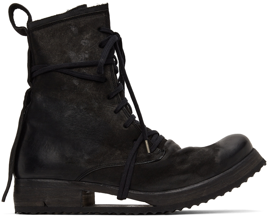 Black Suede Lace-Up Boot
