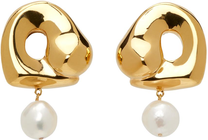 Gold Simone Bodmer Turner Edition Pearl Large Sandra Earrings