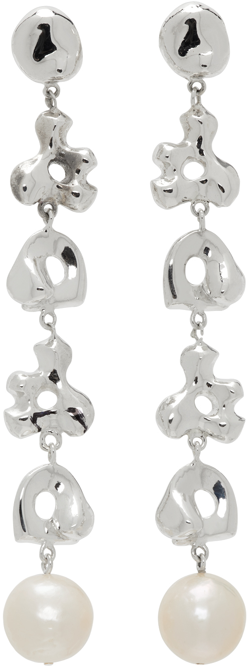 Silver Simone Bodmer Turner Edition Pearl Long Diane Earrings