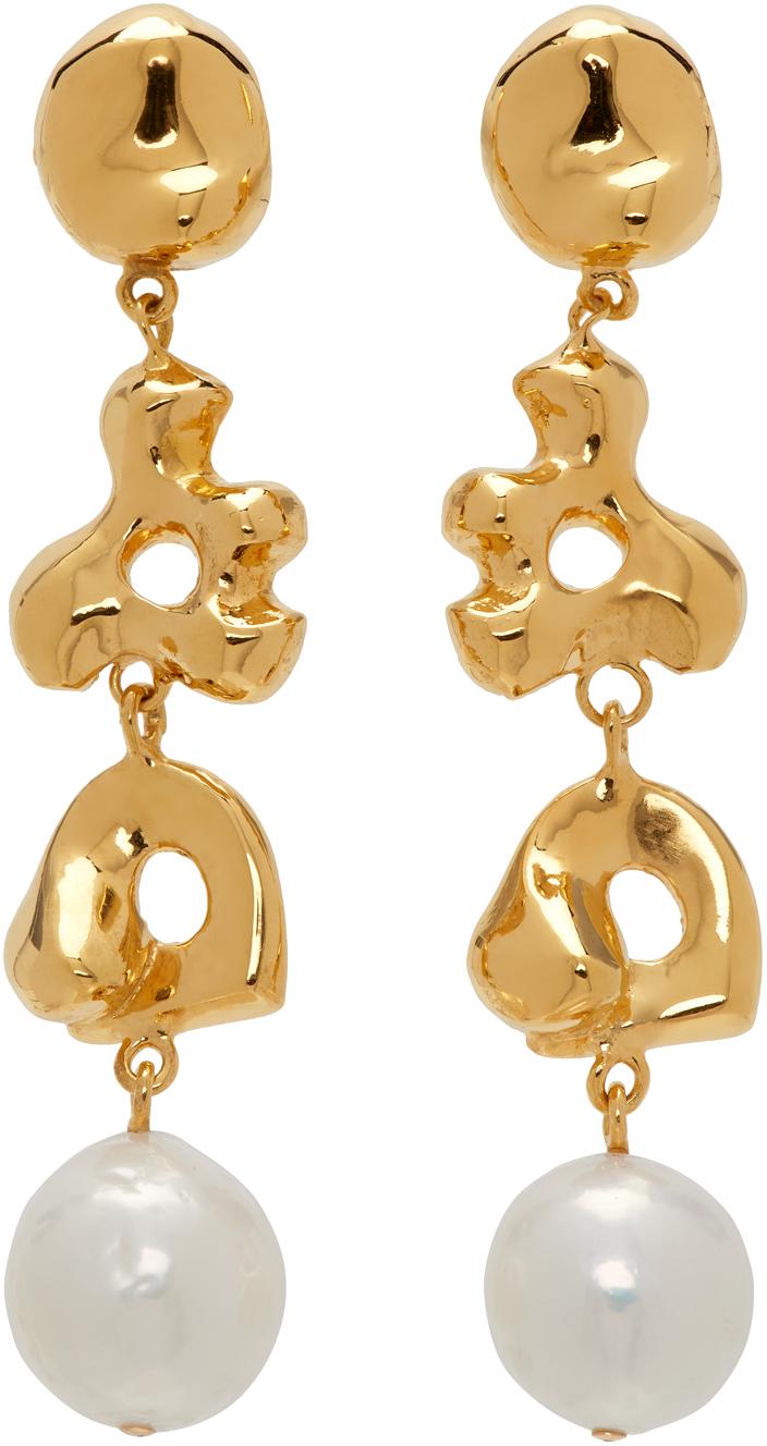 Gold Simone Bodmer Turner Edition Pearl Long Diane Earrings