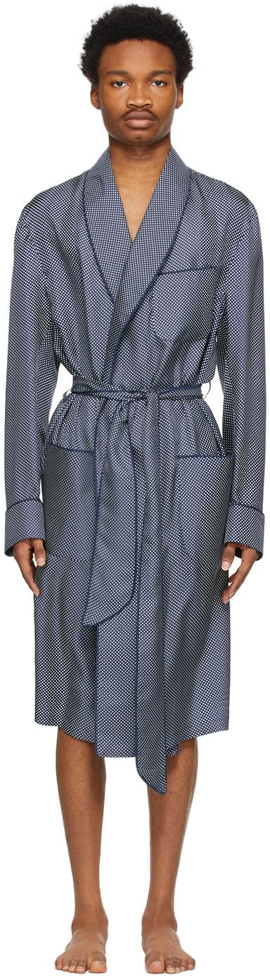Navy Silk Pin Dot Robe