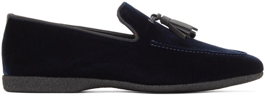 Navy Velvet Hope Slip-On Loafers
