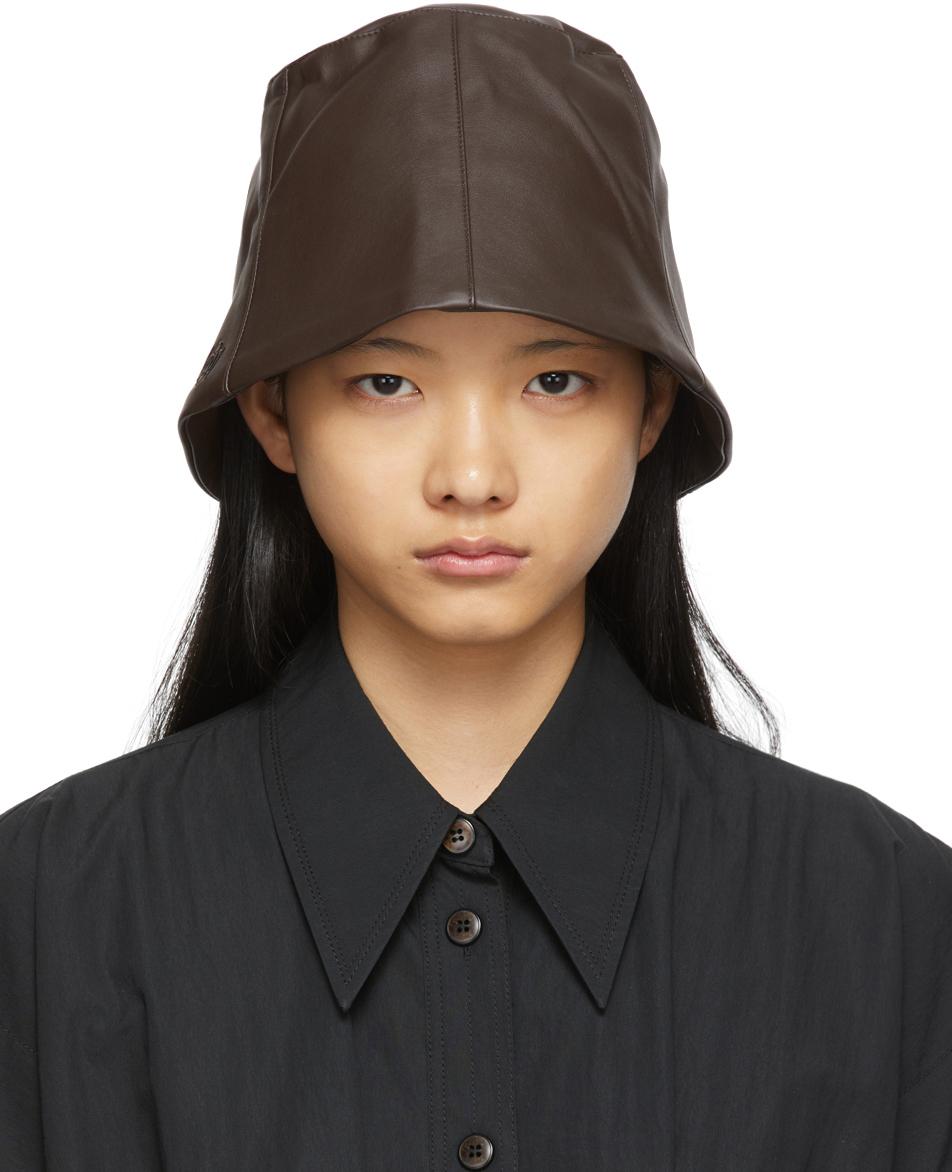 SSENSE Exclusive Brown Logo Bucket Hat