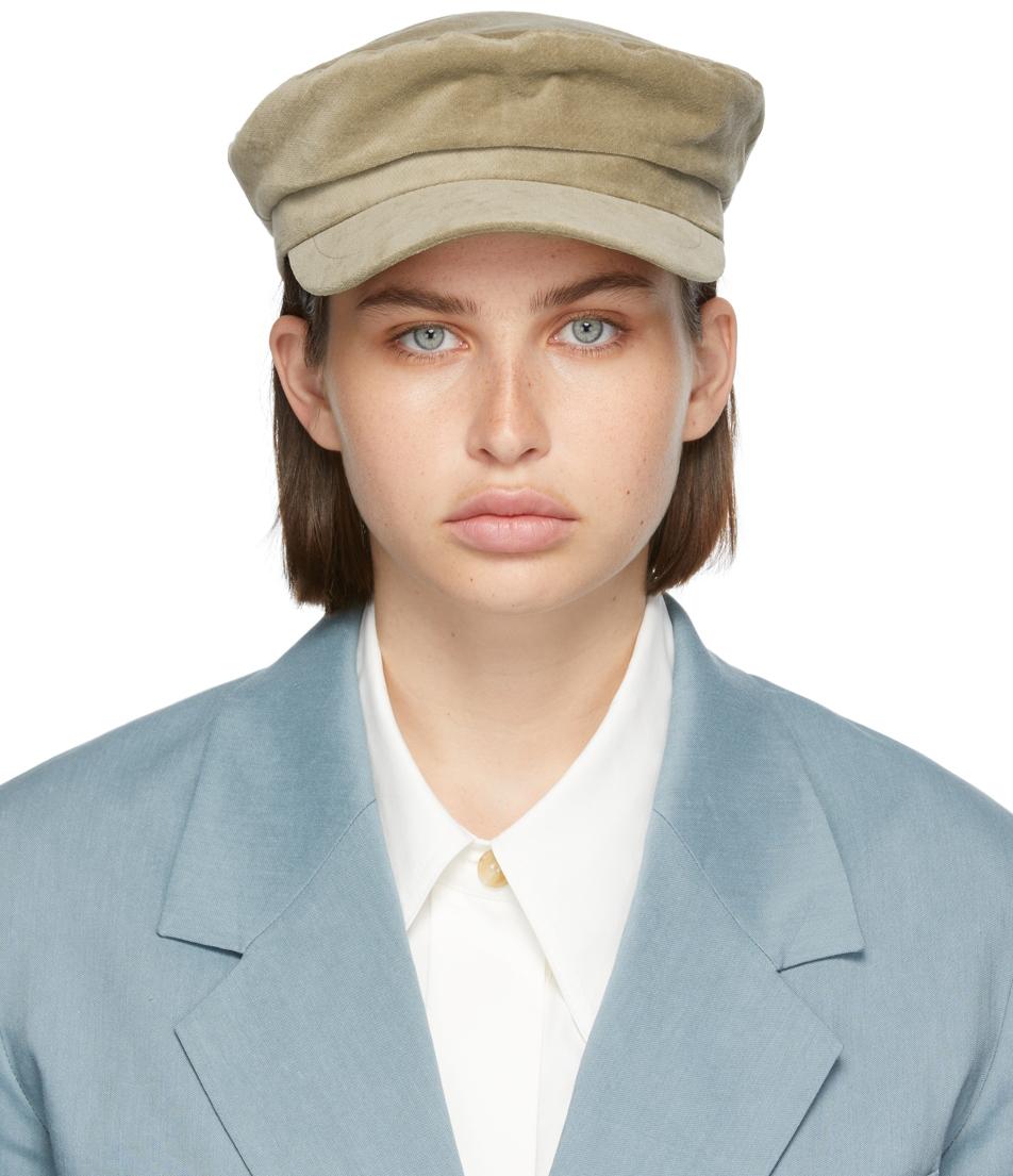 Khaki Velvet News Boy Cap