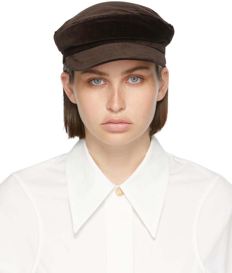 Brown Velvet News Boy Cap