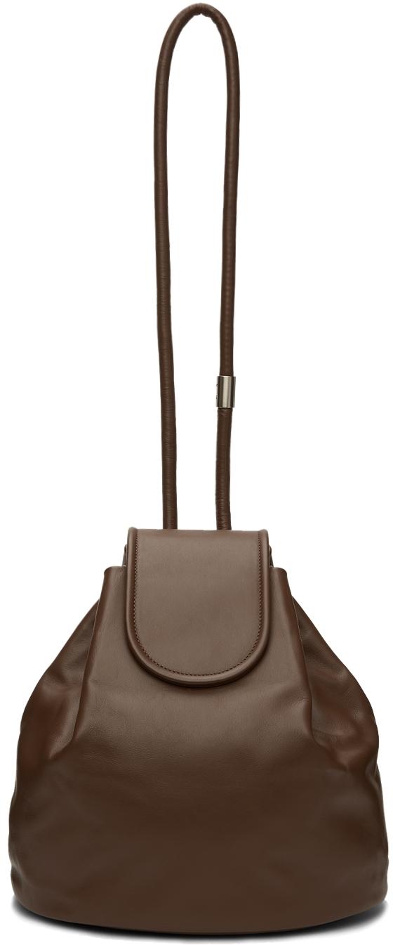 Khaki Leather Bucket Bag