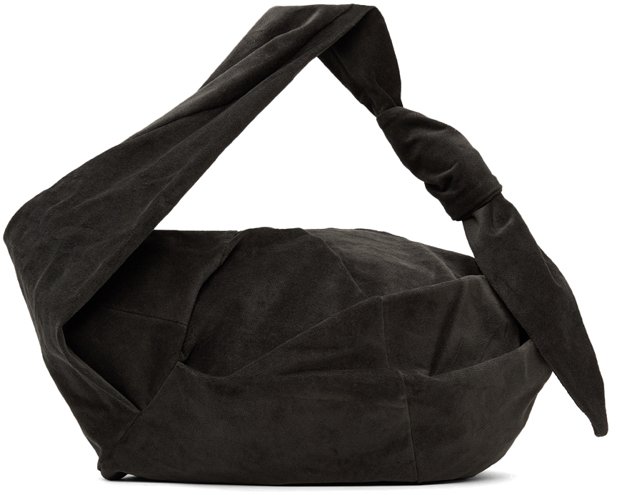 Grey Velour Knot Bag
