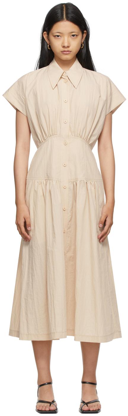 SSENSE Exclusive Beige Waist Shirring Dress