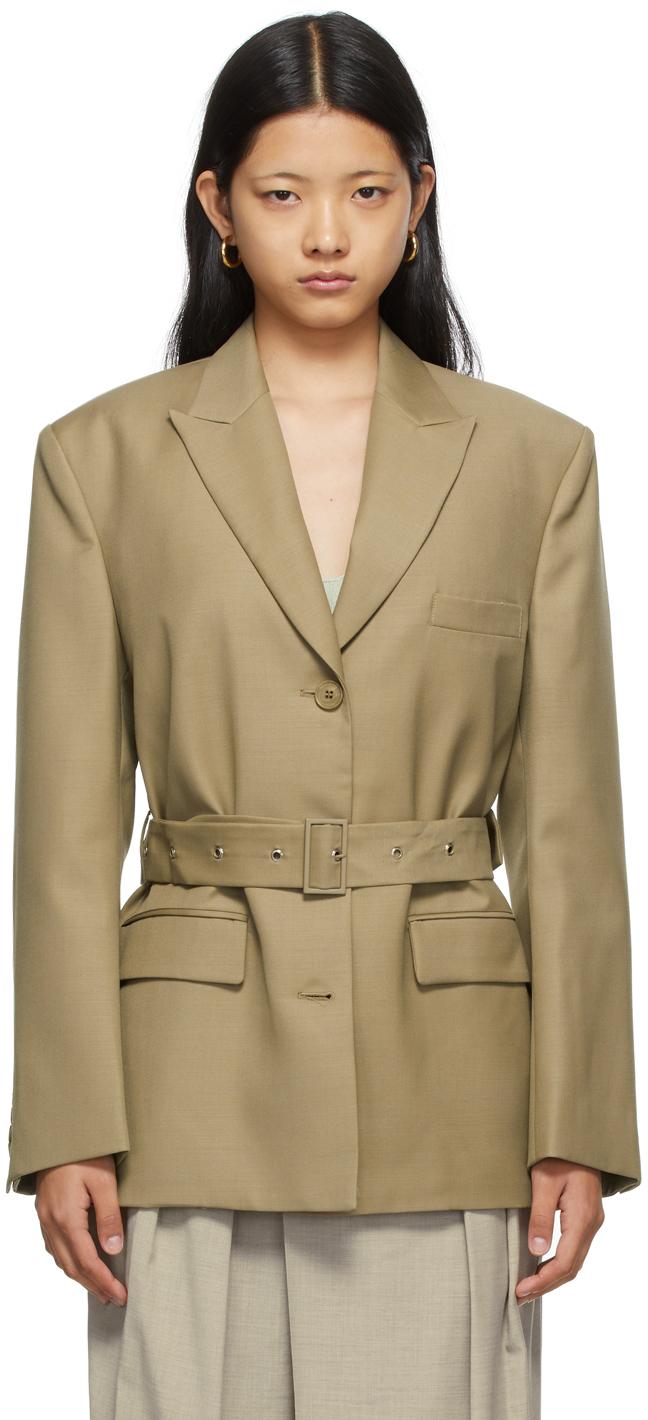 SSENSE Exclusive Khaki Wool Belted Blazer