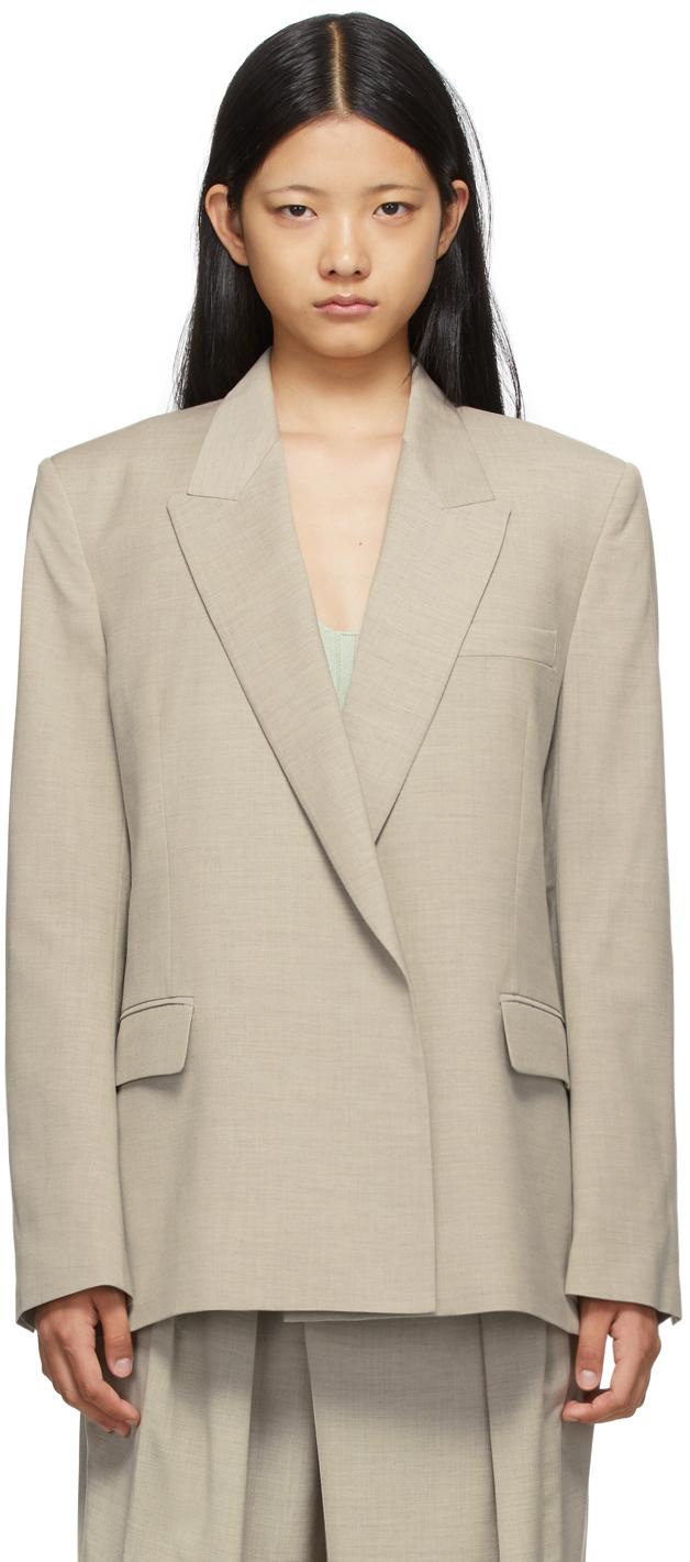 SSENSE Exclusive Beige Wool Double Blazer