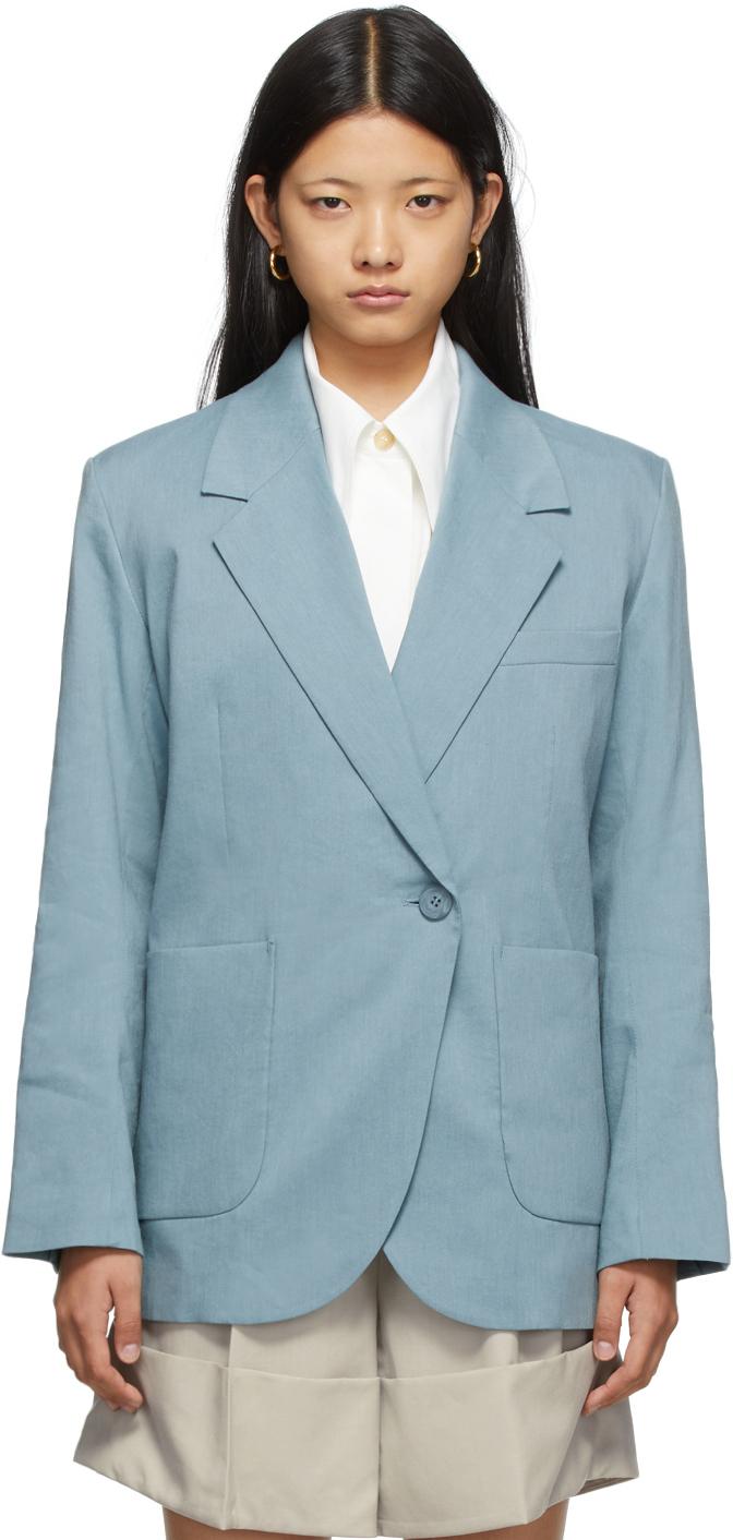 SSENSE Exclusive Blue Asymmetric Linen Blazer