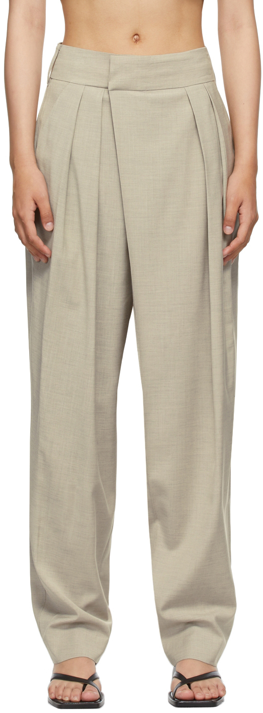 SSENSE Exclusive Beige Wide Tuck Trousers