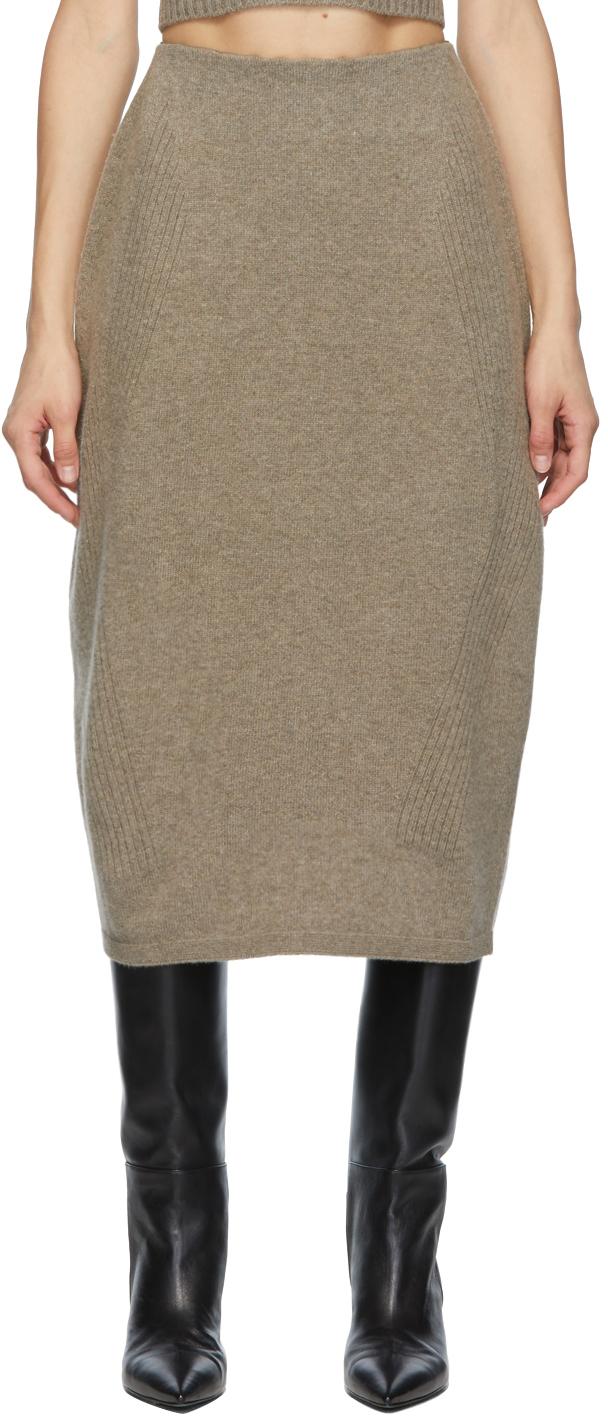Beige Wool Knit Skirt