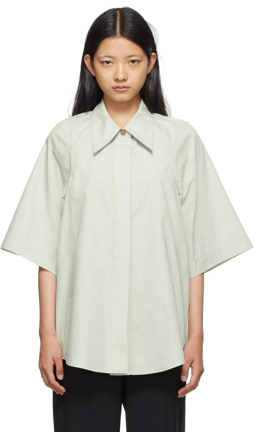 SSENSE Exclusive Taupe Armhole Stitch Short Sleeve Shirt