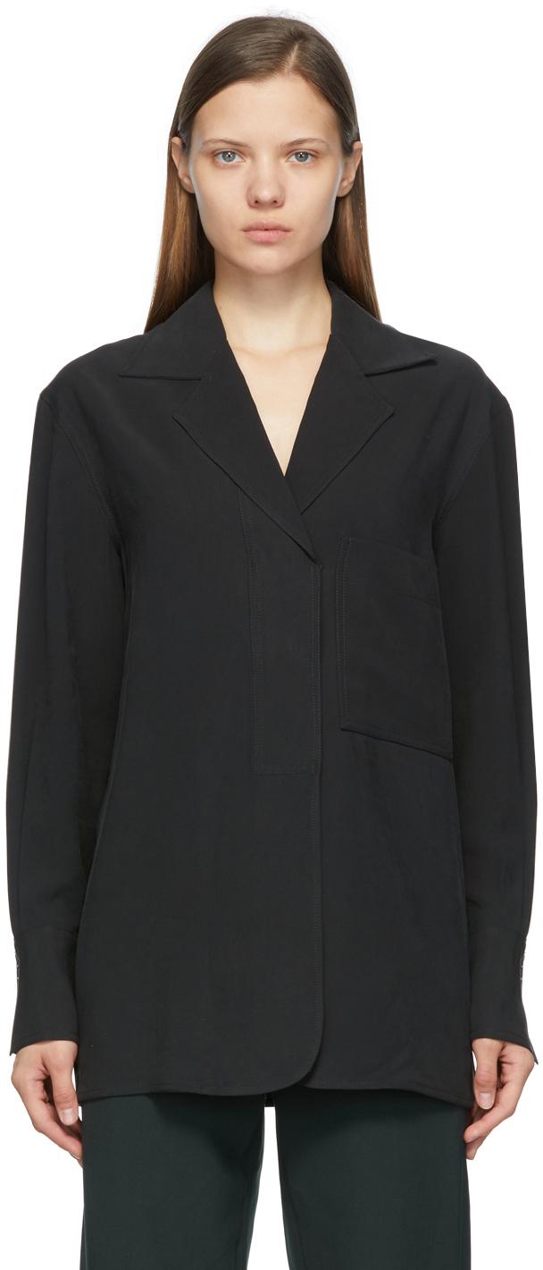 Black Open Collar Shirt