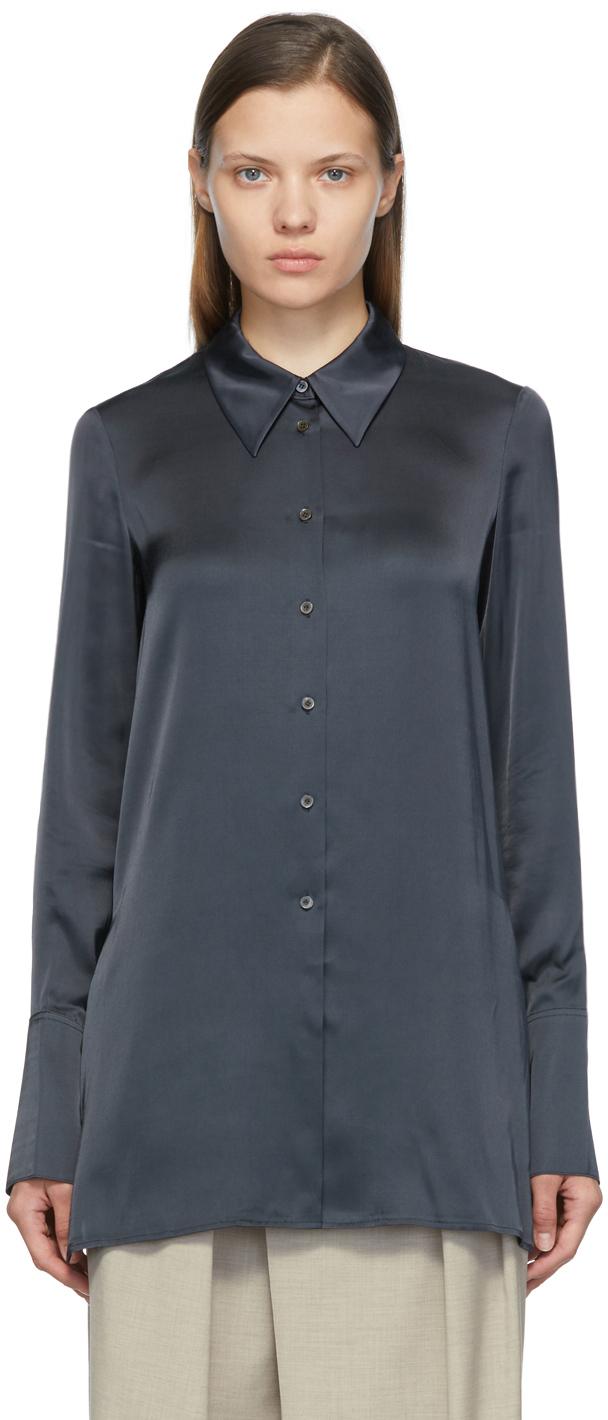 Black Slim Satin Shirt