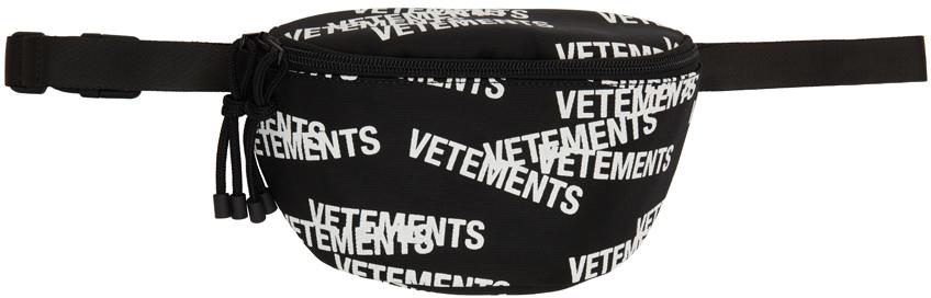 Black & White Stamped Logo Belt Bag