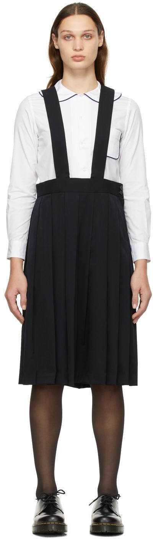 Comme des Garçons Girl Navy Wool Gabardine Suspender Skirt