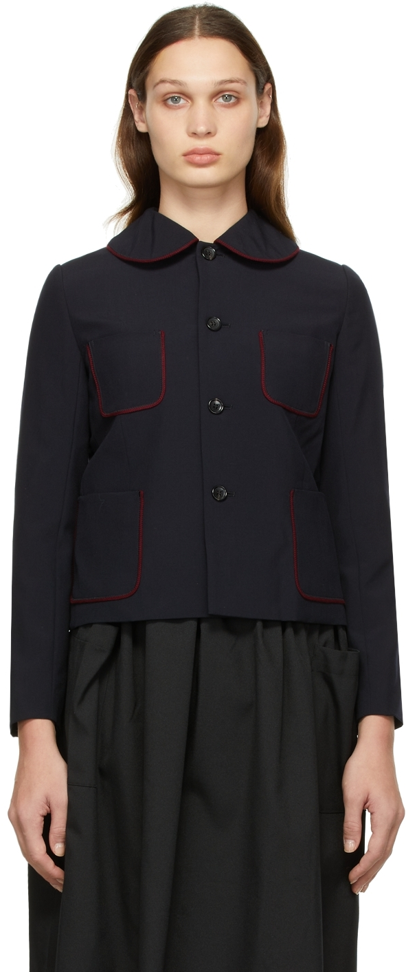 Comme des Garçons Girl Navy Tropical Wool Contrast Piping Jacket