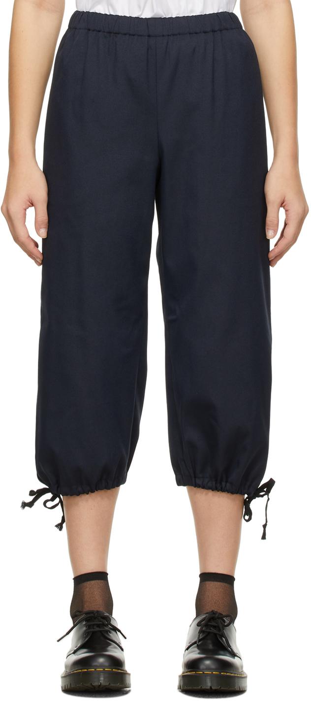 Comme des Garçons Girl Navy Straight-Leg Drawstring Trousers