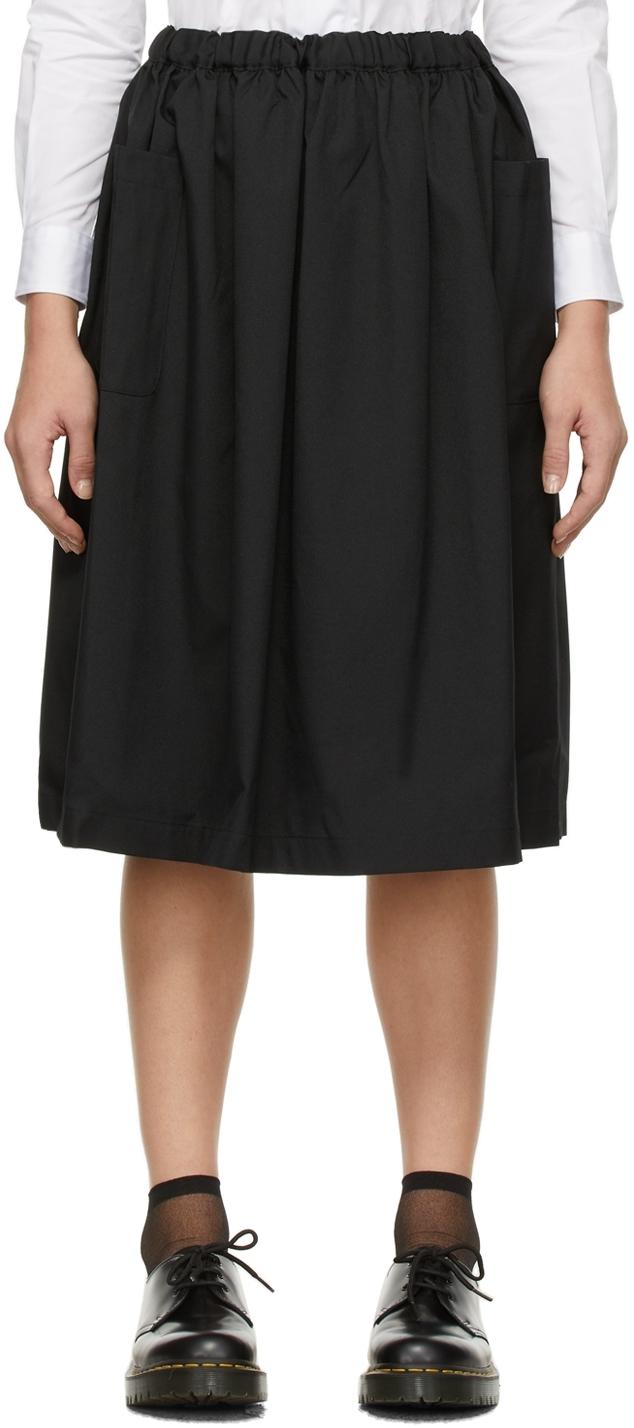 Comme des Garçons Girl Black Wool Patch Pocket Skirt