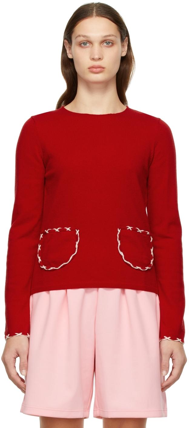 Comme des Garçons Girl Red Wool Contrast Hand Stitch Sweater