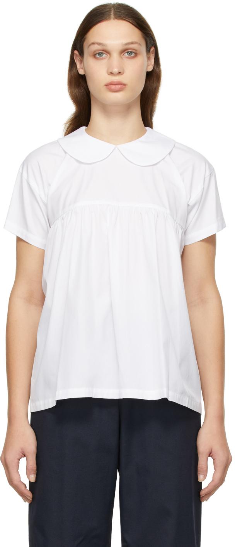 Comme des Garçons Girl White Round Collar Short Sleeve Shirt