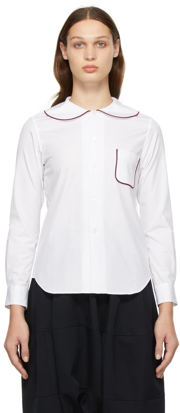 Comme des Garçons Girl White & Burgundy Round Collar Shirt